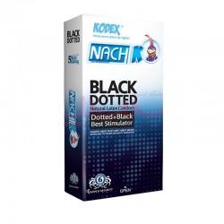 کاندوم ناچ کدکس خاردار و شیاردار مشکی بلک داتد NACH KODEX BLACK DOTTED