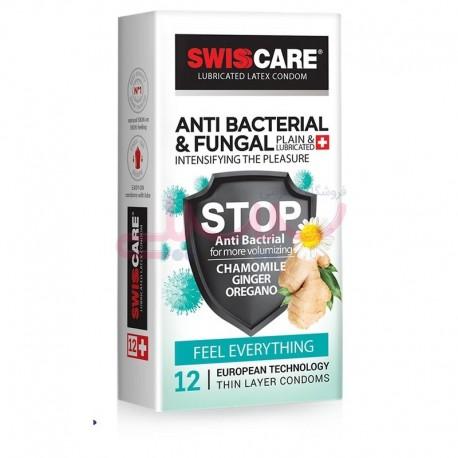 کاندوم سویس کر کلاسیک ضد قارچ آنتی باکتریال SWISSCARE ANTIBACTERIAL & FUNGAL
